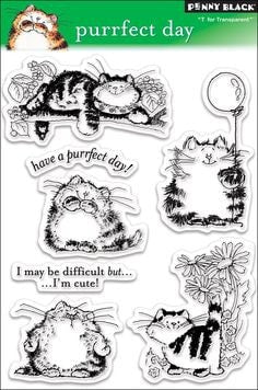 "Penny Black Transparent Clear Stamp 4"" x 6"" Purrfect Day 30-027 