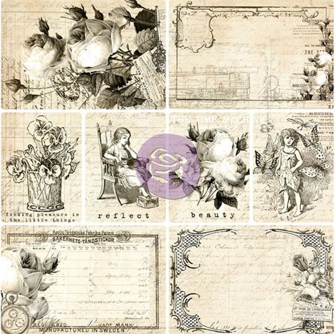 "Prima Marketing Everyday Vintage Paintables Cards Moments, Reflect 4"" x 6"" & 2.875"" x 4"", 8ea EVPBL 13963 