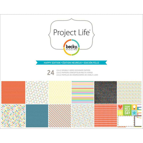 "Project Life Designer Paper Collection Pack 12"" x 12"" 24/Pkg Happy 380330 