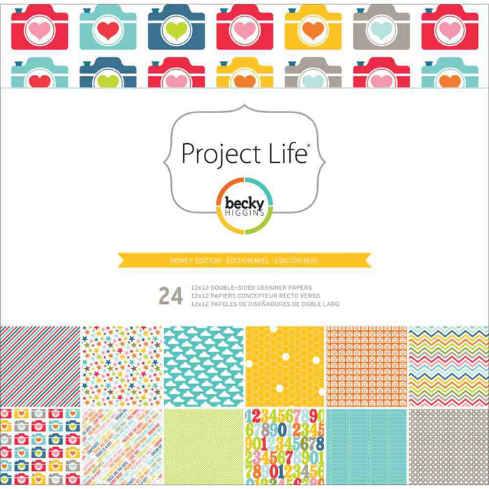"Project Life Designer Paper Collection Pack 12"" x 12"" 24/Pkg Honey Edition 380066 