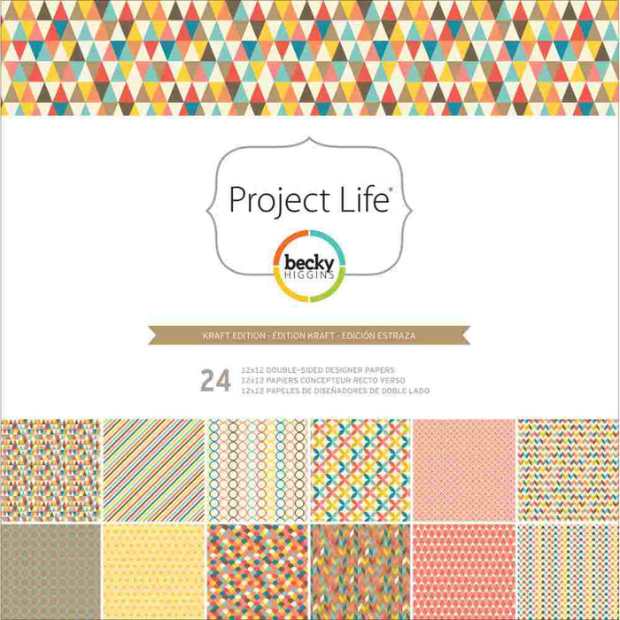 "Project Life Designer Paper Collection Pack 12"" x 12"" 24/Pkg Kraft Edition 380097 