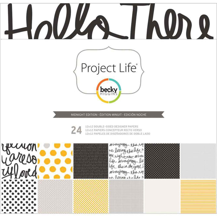 "Project Life Designer Paper Collection Pack 12"" x 12"" 24/Pkg Midnight Edition 380065 