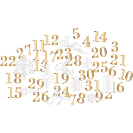 Project Life Gold & Pearl Foil Countdown Kit 63/Pkg Oh What Fun Number & Shape Die-Cuts 312540 | Maple Treehouse