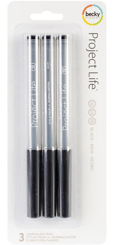 Project Life Journaling Pens 3-Pkg Black 380112 | Maple Treehouse