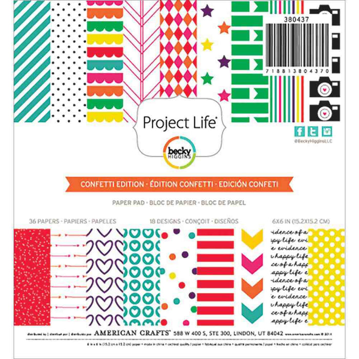 "Project Life Paper Pad 6"" x 6"" 36/Pkg Confetti Edition 380437 