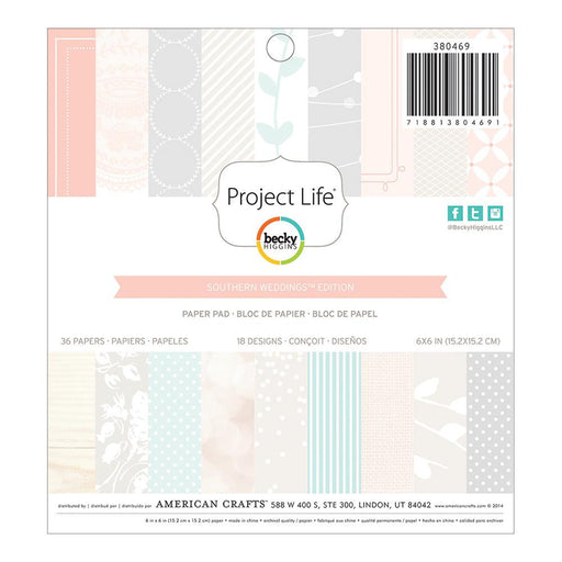 "Project Life Paper Pad 6"" x 6"" 36/Pkg Southern Weddings Edition 380469 