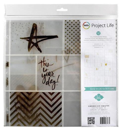 "Project Life Photo Pocket Pages 12"" x 12"" 12/Pkg Heidi Swapp - Gold Foil With Stickers 98178 