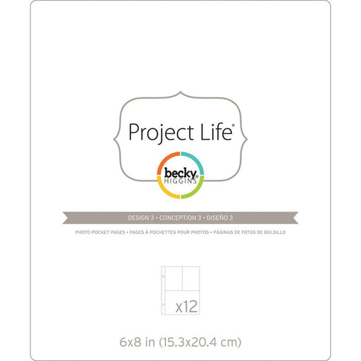 "Project Life Photo Pocket Pages 6"" x 8"" 12/Pkg (1)4"" x 6"" & (2)4"" x 3"" Pocket Pages Design 3 97733 
