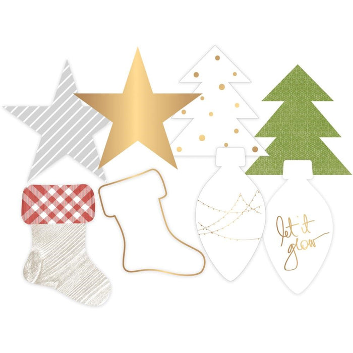 Project Life Gold Foil Transparent Die-Cut Shapes 8-Pkg Oh What Fun Christmas 312550 | Maple Treehouse