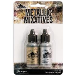 Ranger Tim Holtz Adirondack Alcohol Ink Metallic Mixatives .5oz 2-Pkg Gold & Silver TIM21247 | Maple Treehouse