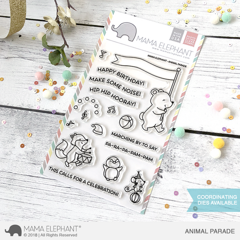 "Mama Elephant 4"" x 6"" Photopolymer Stamp Animal Parade"