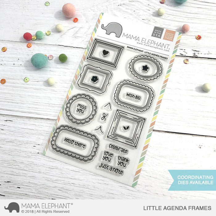 Mama Elephant 4x6 Photopolymer Stamp Little Agenda Frames