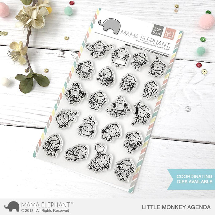 Mama Elephant 4x6 Photopolymer Stamp Little Monkey Agenda