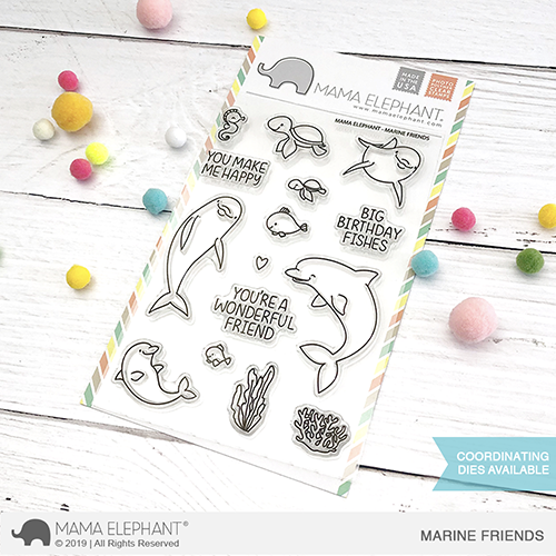 Mama Elephant 4x6 Photopolymer Stamp Marine Friends