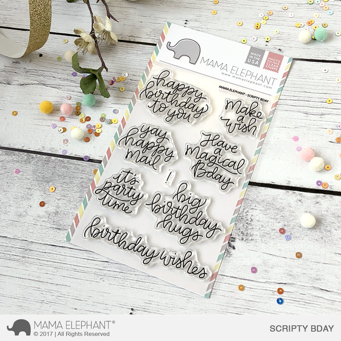 "Mama Elephant 4"" x 6"" Photopolymer Clear Stamps Scripty Bday"