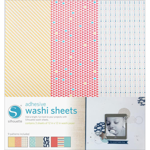 "Silhouette Adhesive Back Washi Paper 12"" x 12"" 3/Pkg SILWASH 