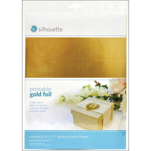 "Silhouette Printable Adhesive Foil 8.5"" x 11"" 8/Pkg Gold MEDIAG 
