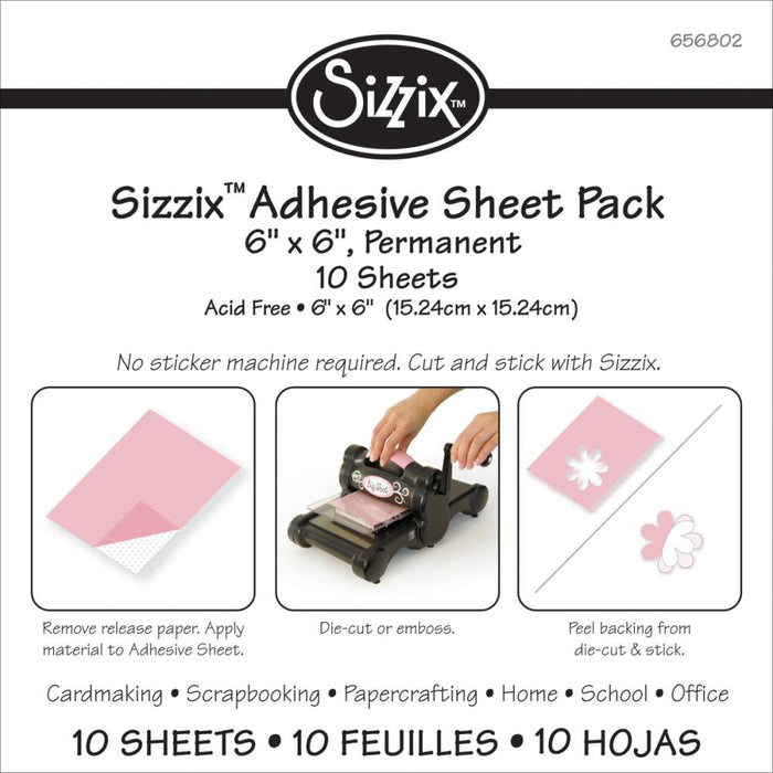 "Sizzix 6"" X 6"" Adhesive Sheets 10-Pkg 656802 
