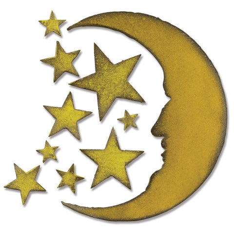 "Sizzix Bigz Die By Tim Holtz 5.5"" X 6"" Crescent Moon & Stars 658716 