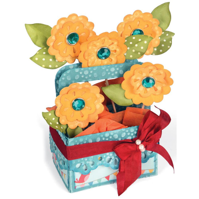 "Sizzix Bigz XL Die 6"" X 13.75"" A2 Flower Basket Card In A Box 660297 