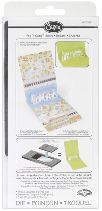 "Sizzix Pop'n Cuts 3D Magnetic Insert Die 3.875"" X 5.5"" Congrats Phrase 658375 
