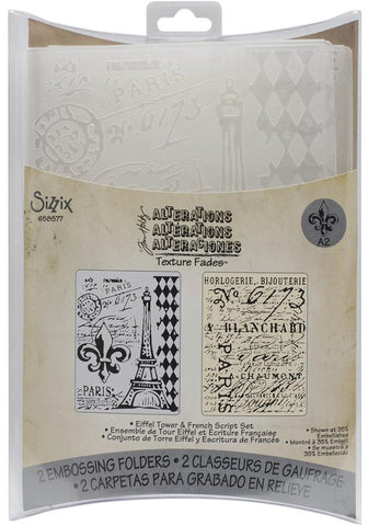 Sizzix Texture Fades A2 Embossing Folders 2-Pkg Eiffel Tower-French Script By Tim Holtz 658577 | Maple Treehouse
