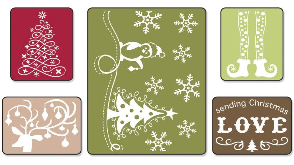 Sizzix Textured Impressions A2 Embossing Folders 5-Pkg Sending Christmas Love 656985 | Maple Treehouse