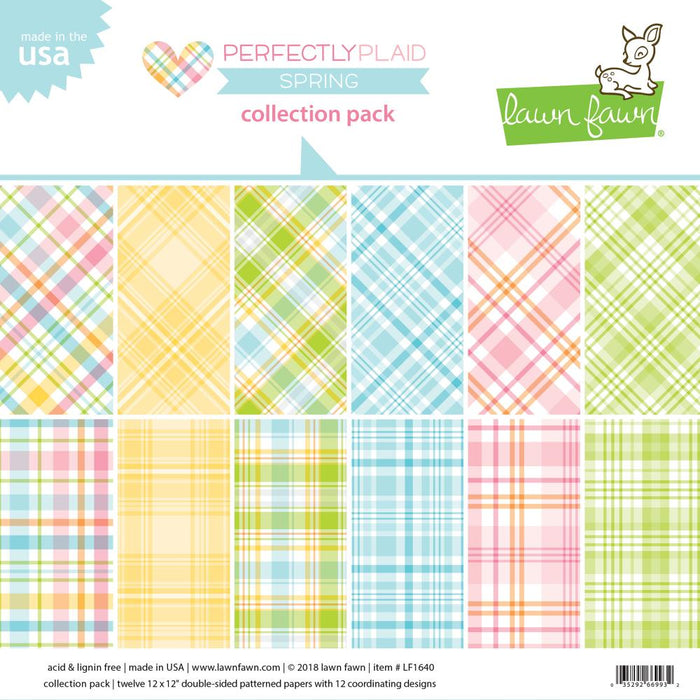 "Lawn Fawn Double-Sided Collection Pack 12""X12"" 12/Pkg Perfectly Plaid Spring LF1640"