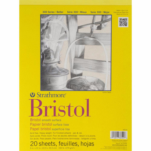 "Strathmore Bristol Smooth Paper Pad 9"" x 12"" 20 Sheets 342900 
