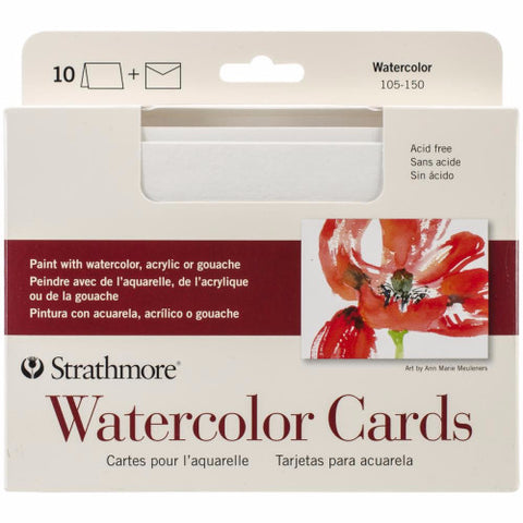 "Strathmore Cards & Envelopes 5"" x 6.875"" 10/Pkg Watercolor 105015 