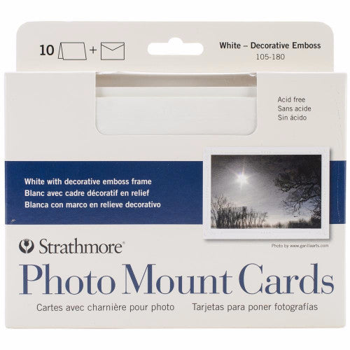 "Strathmore Cards & Envelopes 5"" x 6.875"" 10/Pkg White W/Decorative Emboss Frame 105018 