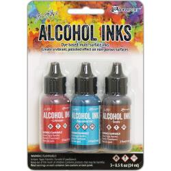 Ranger Tim Holtz Alcohol Ink .5oz 3/Pkg Rodeo-Crimson/Aquamarine/Sepia TAK 58755