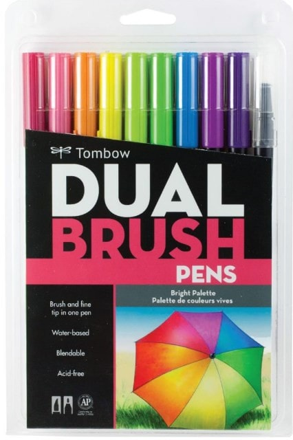 Tombow Dual Brush Markers 10-Pkg Bright DBP10 56185 | Maple Treehouse