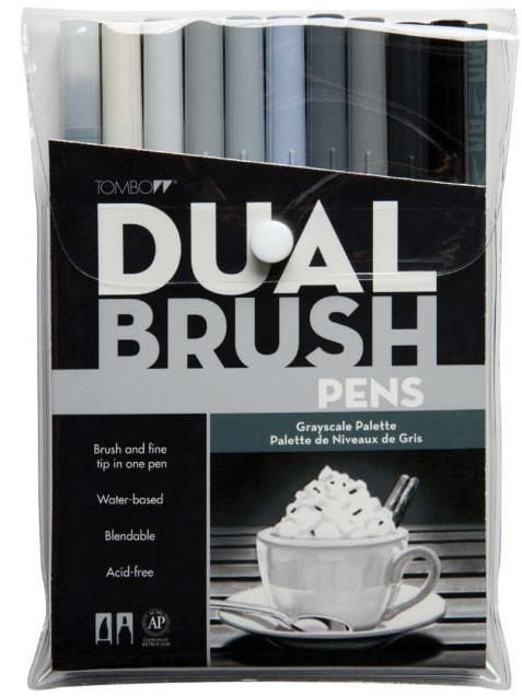Tombow Dual Brush Markers 10-Pkg Gray Scale DBP10 56171 | Maple Treehouse