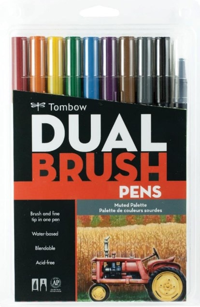 Tombow Dual Brush Markers 10-Pkg Muted DBP10 56186 | Maple Treehouse