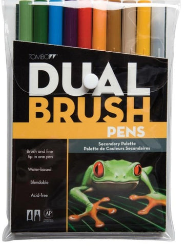 Tombow Dual Brush Markers 10-Pkg Secondary DBP10 56168 | Maple Treehouse