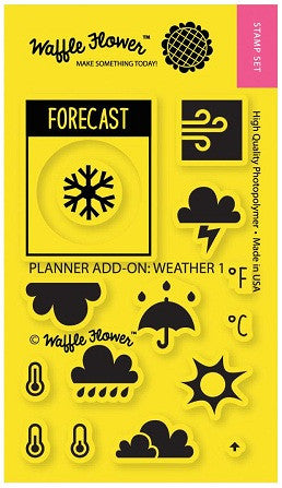 "Waffle Flower Crafts Clear Stamps 2"" x 3"" Planner Add-On: Weather 1 271018 