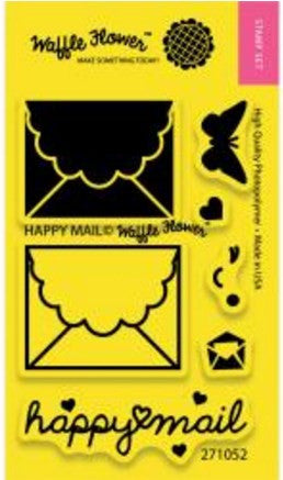 "Waffle Flower Crafts Clear Stamps 2"" x 3"" Happy Mail 271052 