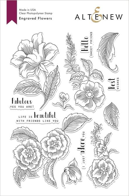 "Altenew 6"" x 8"" Clear Stamp Engraved Flowers"