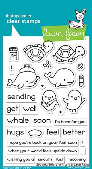 Lawn Fawn 4 x 6 Clear Stamp Get Well Before 'N Afters LF1886