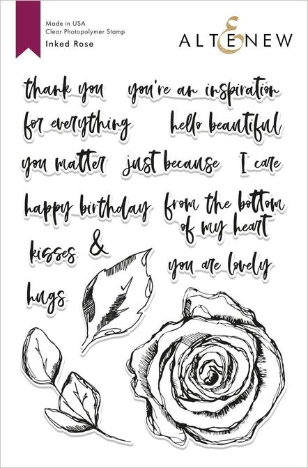 "Altenew 6"" x 8"" Clear Stamp Inked Rose"