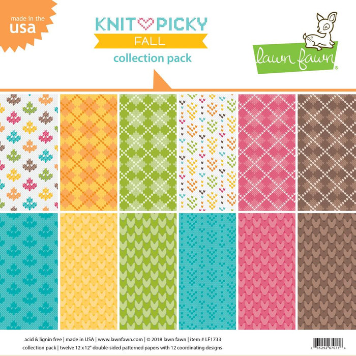 "Lawn Fawn Double-Sided Collection Pack 12""X12"" 12/Pkg Knit Picky Fall LF1733"