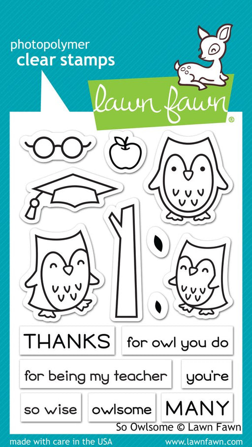 "Lawn Fawn 3"" x 4"" Clear Stamp So Owlsome LF1757"