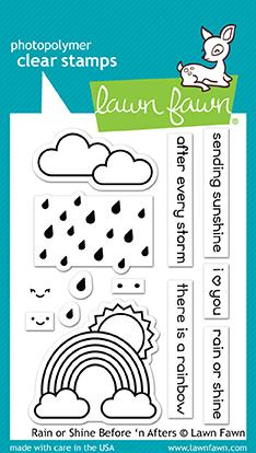 Lawn Fawn 3 x 4 Clear Stamp Rain Or Shine Before 'N Afters LF1888