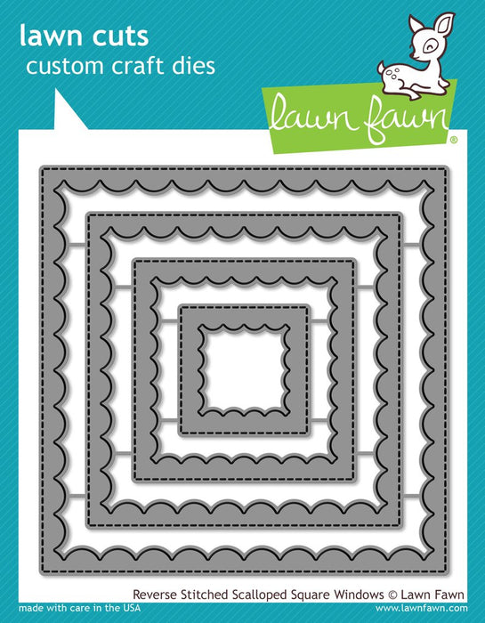 Lawn Fawn Cuts Reverse Stitched Scalloped Square Windows LF1799