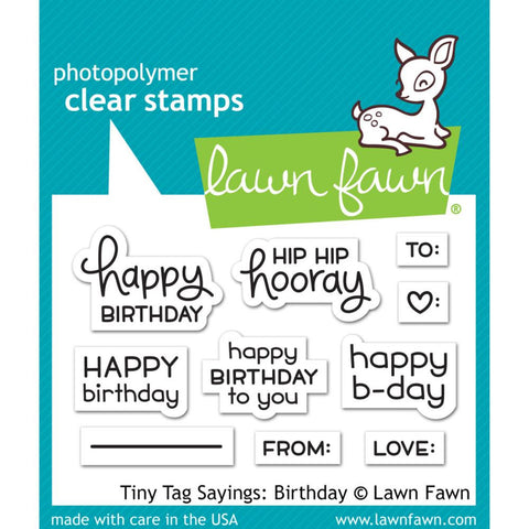 "Lawn Fawn Clear Stamps 3""X2"" Tiny Tag Sayings: Birthday LF1421"