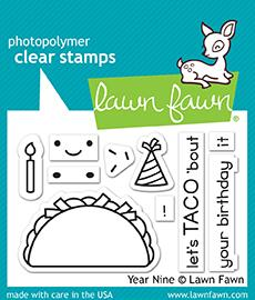 Lawn Fawn 2 x 3 Clear Stamp Year Nine LF1901