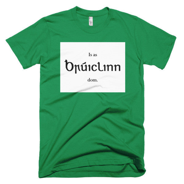 "Short sleeve men's t-shirt - ""Is as Brúiclinn dom."" (I'm from Brooklyn.)"