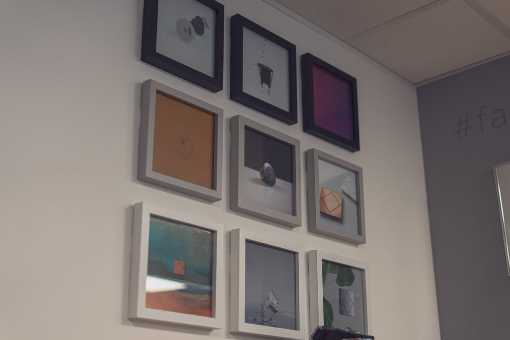 Faradite products framed on a wall