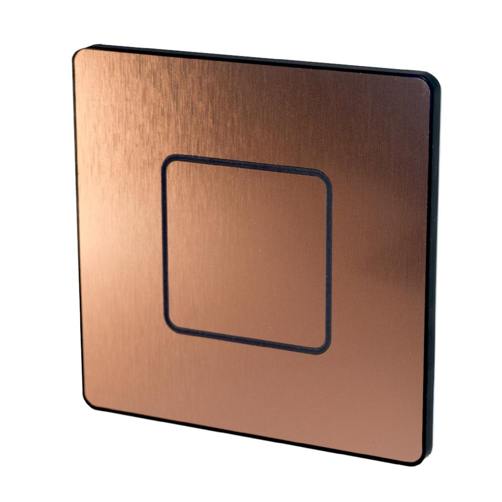 Switch plate, Haptic feedback, lighting control, light switch, brushed copper, copper, 1-Wire, Temperature Sensor